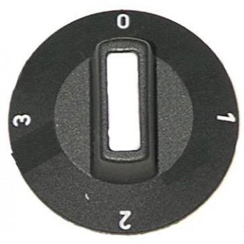Buton grill 4 pozitii , Ø50mm, pentru ax de Ø6x4,6mm, culoare neagra. Pentru  Electrolux, King, KSF, Palux, Polydor
