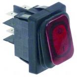Intrerupator basculant rosu, dimensiuni 30x22mm, 2NO, 250V, 20A, protectie IP65, simbol 0-1, conexiune papuci 6.3mm