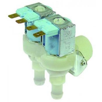 """Electrovalva alimentare apa masina de gheata, dubla, cu iesiri unghiulare de 11,5mm, intrare de ¾"""", reductii pe ambele iesiri de 1,2l/min. Pentru masini de gheata BREMA, IGF, COOKMAX, ELECTROLUX"""