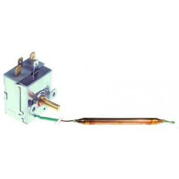Termostat de control 0-90◦C,  contact in comutatie 1CO, 15A, dimensiuni senzor 6,5x90mm, lungime capilar 1000mm(izolat 900mm), diametre ax 6x4,6mm