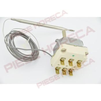 Termostat de control, temperatura setabile 95-180◦C, 3poli, 16A, dimensiuni senzor Ø6mm x 133mm, filet presetupa M9x1. Pentru friteuze HAKA, ELECTROLUX, GIGA, DitoSama, ZOPPAS, ZANUSSI. Cod EGO 55.34032.813