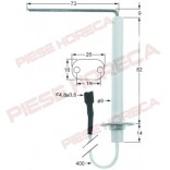 Electrod aprindere cuptor gaz Rational, lungime flansa 26mm, latime flansa 16mm, diametru 9mm